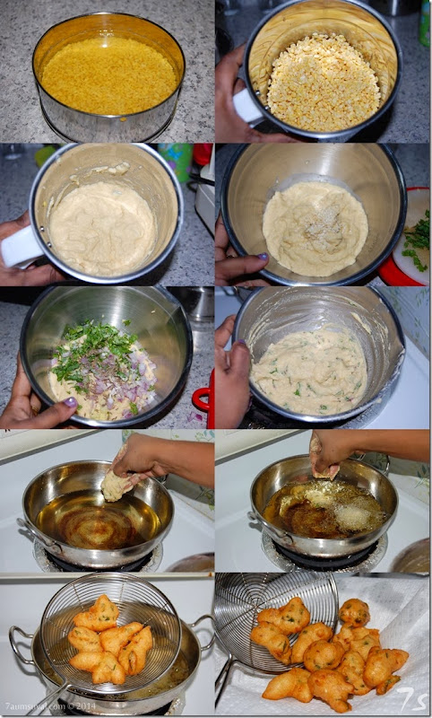 Moong dal vadai process