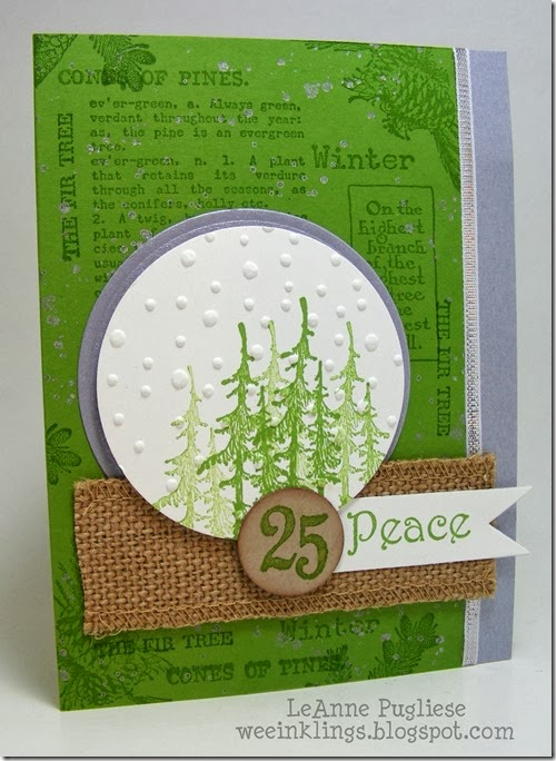 LeAnne Pugliese WeeInklings Paper Players 174 Evergreen Christmas Card