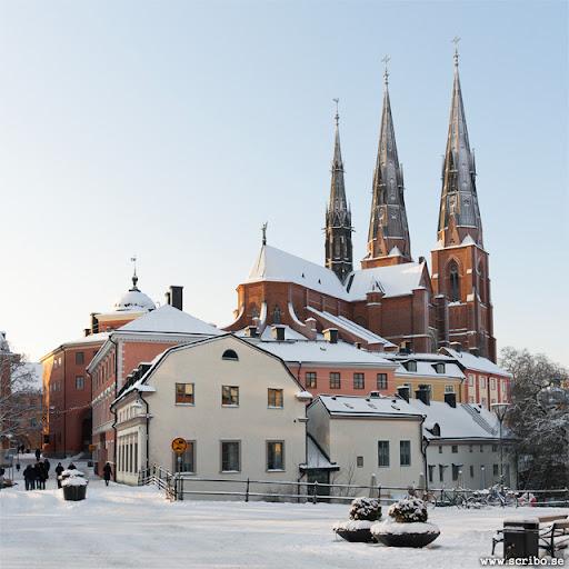 Uppsala Domkyrka från Gamla torget, vinterbild.
