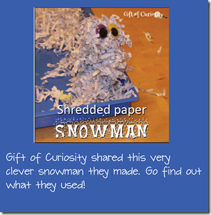 Shredded paper snowman craft for kids from Gift of Curiosity