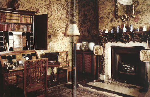 The incredible chinoiserie wallpaper in this country house study is known for having been wrapping paper holding imports of tea.