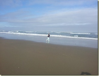 Rockey jogging on beach