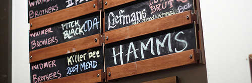 image of the menu board during a Saraveza Brewers Night courtesy of Portlandbeer.org's Flickr page