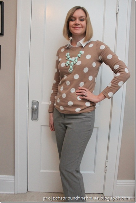 camel polka dot sweater, mint necklace, gray pants