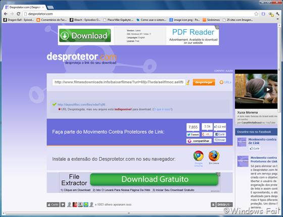 Desprotetor.com avisa se o arquivo na URL desprotegida está ou não disponível para download