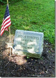 Old Freedom Road Cemetery and grave stone for Jacob Roberts a Civil War Veteran