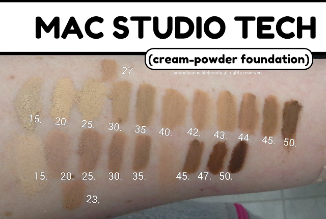 MAC Studio Tech Foundation; Review & Swatches of Shades- NC15, NC20, NC25, NC27, NC30, NC35, NC40, NC42, NC43, NC44, NC45, NC50, NW15, NW20, NW23, NW25, NW30, NW35, NW45, NW47, NW50,