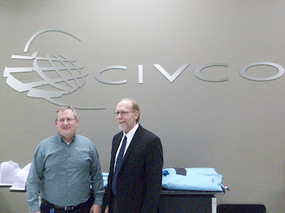 Civco's VP of Manufacturing Mike McVey and Congressman Loebsack