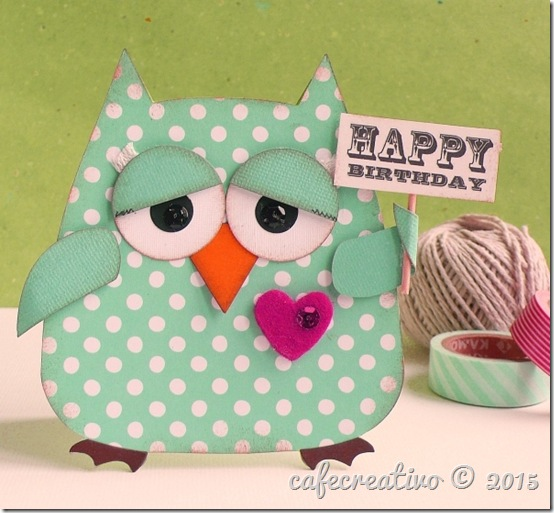 cafe creativo - sizzix big shot - fustella gufo card - owl card