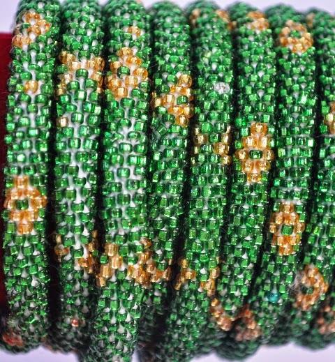 Rollover Green Bead Yellow flower Bracelets
