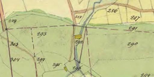 Karta 1845 Bergsbrunna kvarn