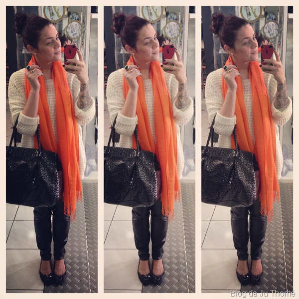 look maxi tricot, calça de couro e cachecol laranja (2)