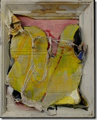 John Luna - Window_verso - Oil. chalk pastel. charcoal with metal wire on canvas mounted on papier mache with wooden frame - 20
