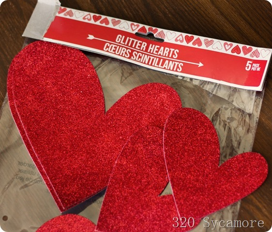 dollar store glitter hearts