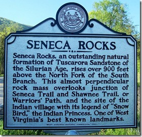 Seneca Rocks marker in Pendleton County, WV