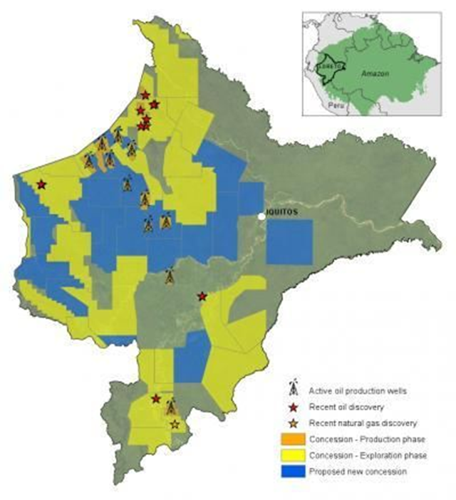 Oil and gas blocks in the western Amazon in 2008. Solid yellow indicates blocks already leased out to companies. Hashed yellow indicates proposed blocks or blocks still in the negotiation phase. Peru's Amazon rainforest is extensively contaminated from decades of oil and gas drilling. Graphic: Matt Finer, Clinton Jenkins, and Bill Powers / LiveScience.com