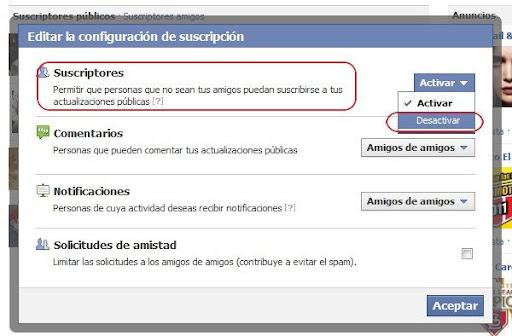 desactivar las suscripciones en Facebook
