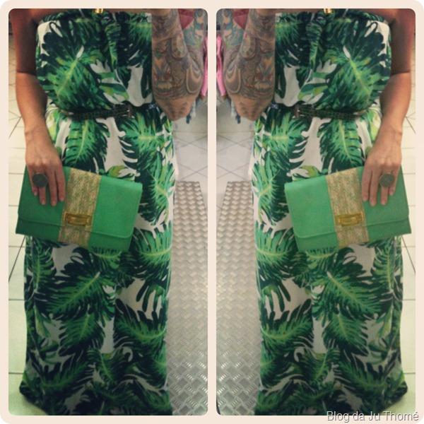 look vestido longo verde com estampa tropical e bolsa amarela (3)