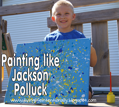 Painting like Jackson Pollock for Kids #play #painting #artforkids #preschool #homeschool