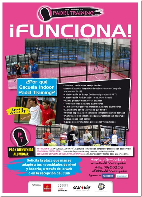 Solicita tú plaza en la Escuela Open Club Indoor Padel Training 2012-2013. Informate.