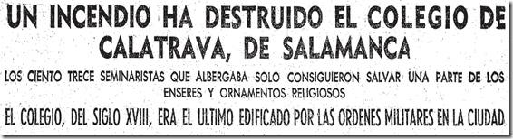 titular ABC incendio Colegio de Calatrava Salamanca 1960