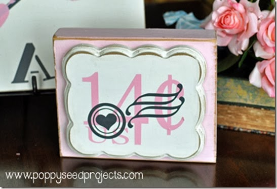 DIY Valentine Projects - 14 cent stamp block