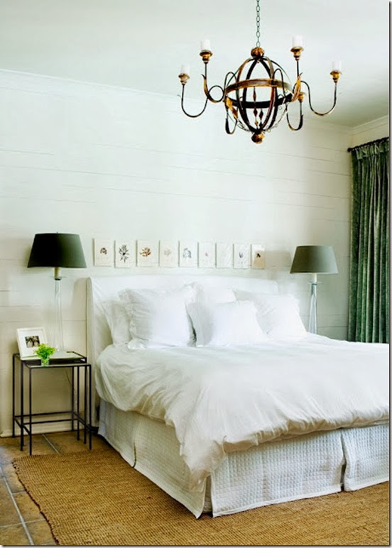 melanie turner interiors cococozy white bedroom wood plank walls green drapes curtains chandelier