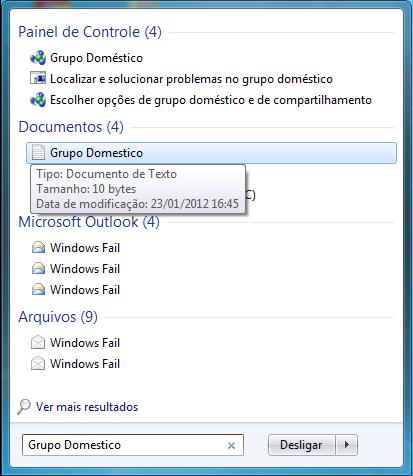 Usando o Windows Search pelo Menu Iniciar