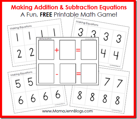 Making Addition &amp; Subtraction Equations: FREE Printable Math Game