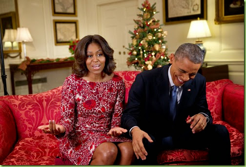 "Nov. 19, 2014 ""Lawrence Jackson captured the President busting out in laughter as he and the First Lady recorded a holiday video message in the Map Room of the White House.""  (Official White House Photo by Lawrence Jackson)"