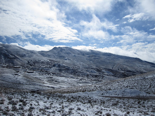 The snowy mountains outside of Uyuni