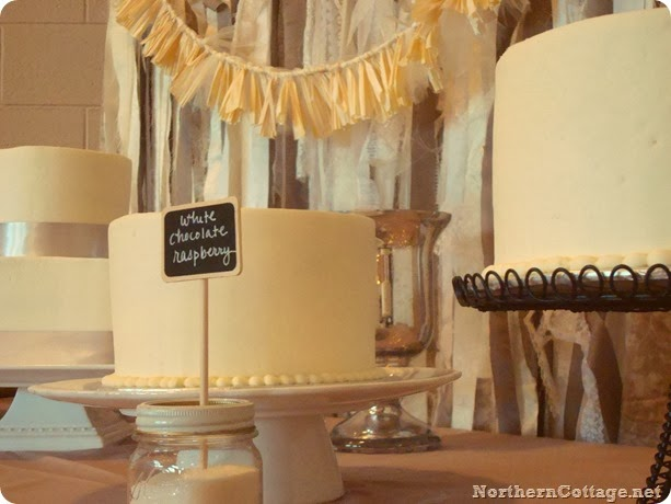 Gorgeous Dessert Table {with ribbon backdrop via Northern Cottage}