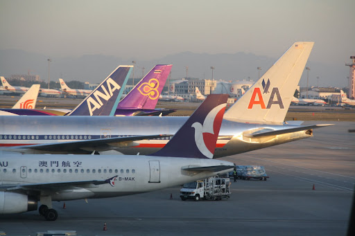 Nice mix of livery in the early light at PEK