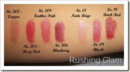 Burberry lipsticks swatches - Copy