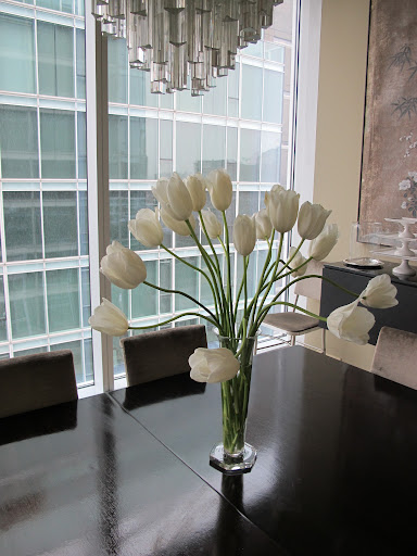 Some beautiful tulips on my dining table.