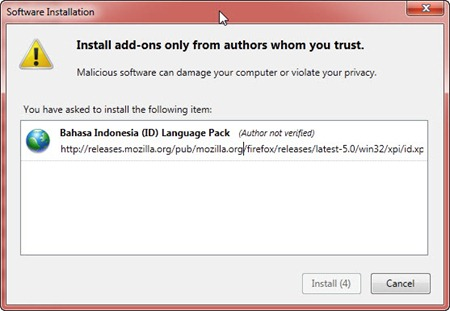 Meng-install language pack Bahasa Indonesia di Mozilla Firefox
