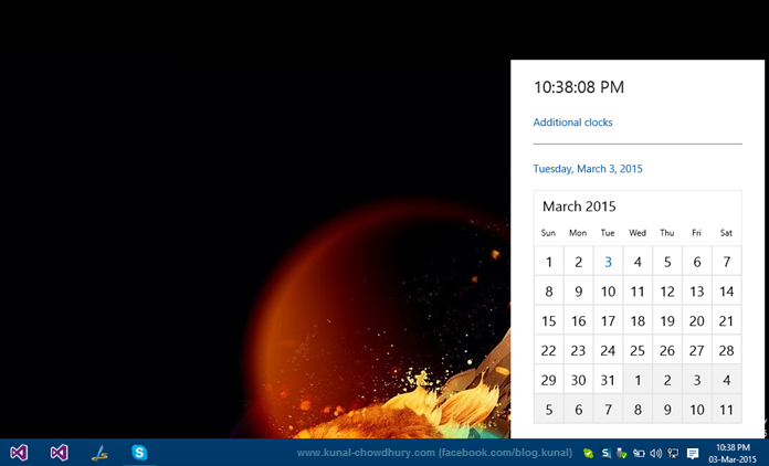 New clock in Windows 10 after registry editing (www.kunal-chowdhury.com)