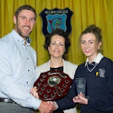 Jason  Black and Fiona Temple, Principal presenting the student of the year award to Gillian Marley at the Mulroy College prize giving on Thursday night last. Photo Clive Wasson.