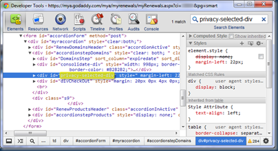 How to display privacy-selected-div using Chrome's Developer Tools