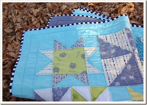 Pinwheels and Stars Baby Quilt Folded
