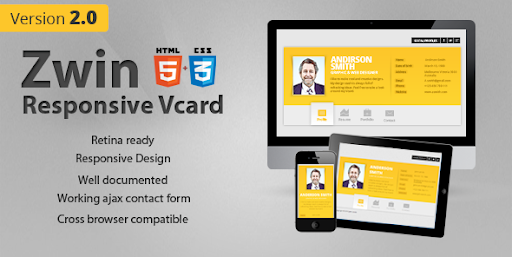 Premium virtual business card html templates zwin responsive zwin responsive vcard template virtual business card personal colourmoves