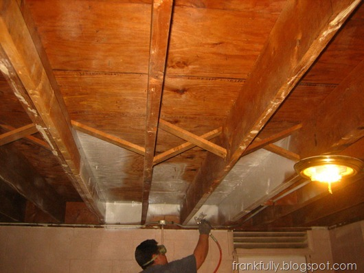 beginning to paint the basement ceiling with Wagner paint sprayer