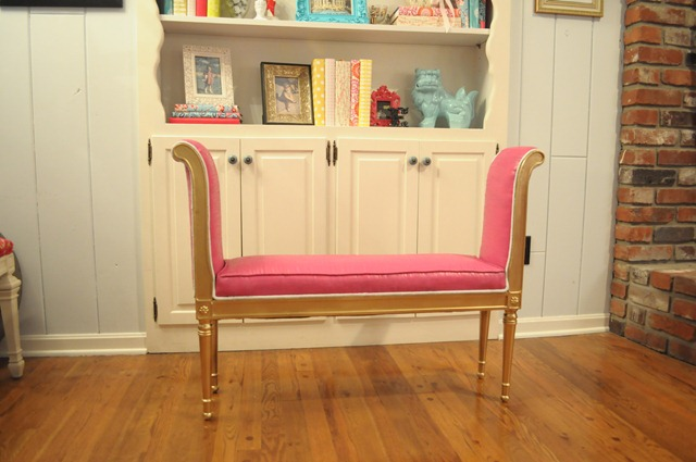 painted upholstery bench