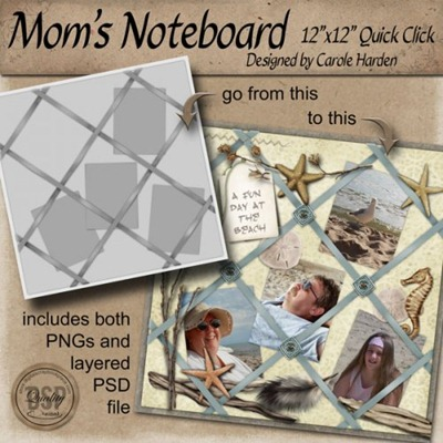 Mom's Noteboard 12x12 Quick Click template