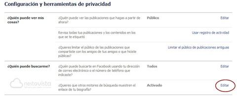 Opciones de privacidad de Facebook