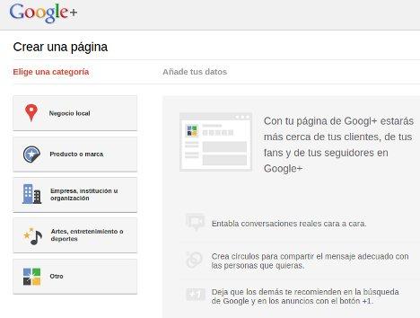 Páginas en Google Plus