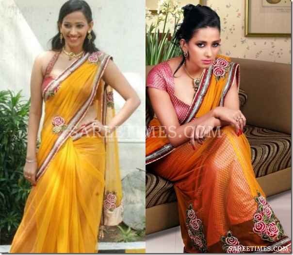 Sanjana_Singh_Yellow_Shimmer_Saree