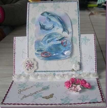 carterie créative, image Le Suh, fleurs au crochet, organza et papier, carte chevalet