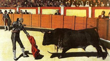 1885-06-15 Pedro Romero recibiendo un toro
