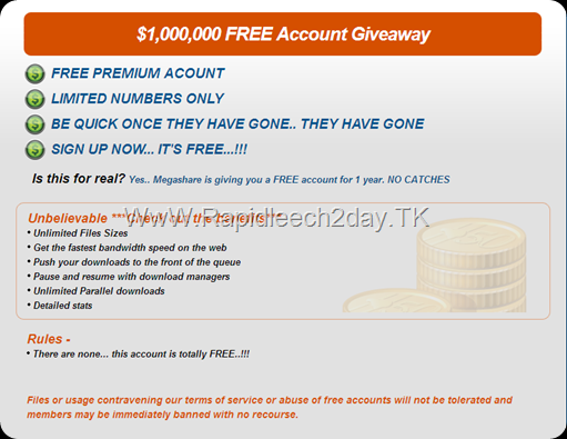 $1,000,000 Megashare Membership Premium Account Giveaway – Unlimited Files Sizes No Rules! No Cash!